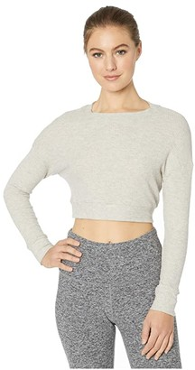 Beyond Yoga In Line Super Cropped Pullover (Oatmeal Heather) Women's Clothing