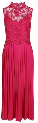 Dorothy Perkins Womens Little Mistress Pink Lace Pleat Maxi Dress, Pink