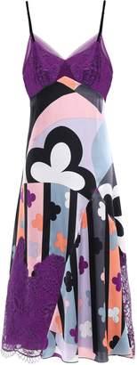 Emilio Pucci Lace-paneled Printed Silk-blend Satin Dress