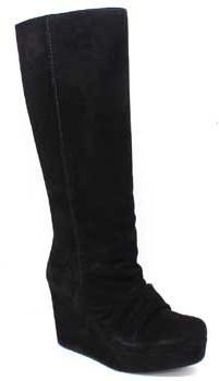 """Pedro Garcia Kora"""" Black Suede Tall Wedge Boot"""
