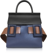 Marni Blue China, Coffee and Gold Brown Leather Dual Tote Bag