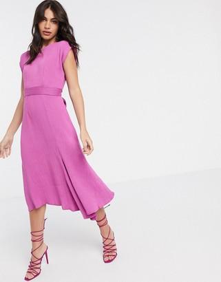Closet London kimono sleeve midi dress with assymmetric hem in pink