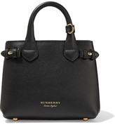 Burberry Mini Textured-leather And Checked-twill Tote - Black