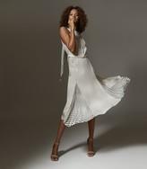 Reiss Jenna - Printed Midi Dress in Black/white