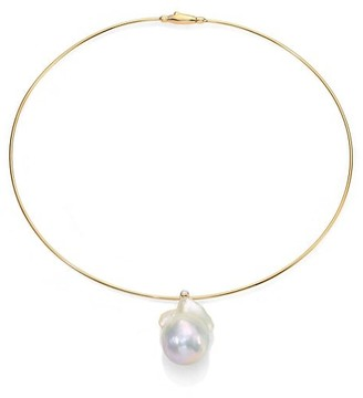 Mizuki 27MM White Freshwater Pearl, Diamond & 14K Yellow Gold Collar Necklace