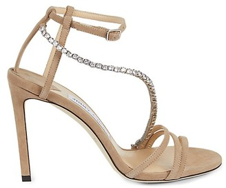 Jimmy Choo Jeweled Ankle-Strap Suede Stiletto Sandals