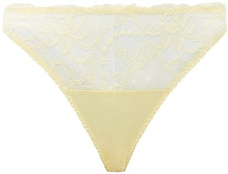 Fleur of England Lemon Lace-trimmed Satin Thong - Yellow Multi