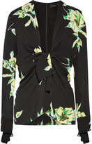 Proenza Schouler Knotted Floral-print Silk-crepe Blouse - Black