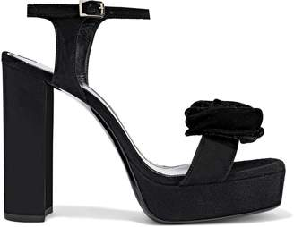 Lanvin Floral-appliqued Suede Platform Sandals
