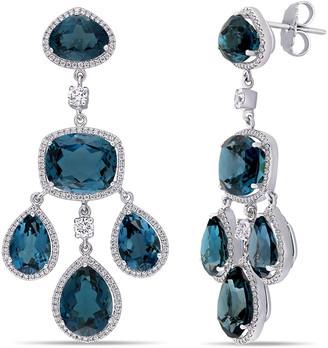 Diamond Select Cuts 18K 46.42 Ct. Tw. Diamond & London Blue Topaz Earrings