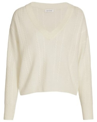 Naadam Cable Knit V-Neck Cashmere Sweater