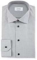 Eton Contemporary-Fit Check Dress Shirt, Gray/White