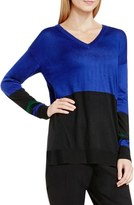 Vince Camuto Colorblock V-Neck Asymmetrical Sweater