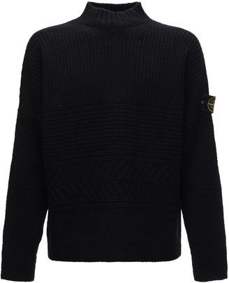 Stone Island Aran Wool Blend Boucle Knit Sweater