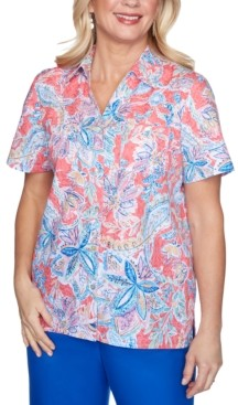 Alfred Dunner Petite Look On The Bright Side Printed Shirt