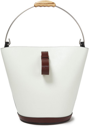 Marni Two-tone Smooth And Lizard-effect Leather Bucket Bag