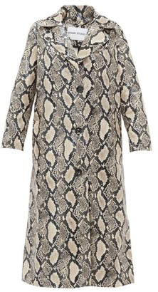 Stand Studio Mollie Snake-print Faux-leather Coat - Beige Print