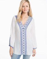 White House Black Market Cotton Voile Embroidered Tunic
