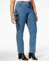 Style&Co. Style & Co Plus Size Tummy-Control Embroidered Slim-Leg Jeans, Created for Macy's