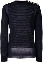 Balmain embossed striped jumper - men - Linen/Flax - S