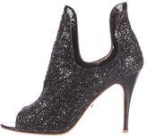 Jerome C. Rousseau Glittered Peep-Toe Ankle Boots