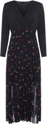 French Connection Marmo Charm Mix V Neck Dress