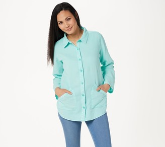 Denim & Co. Waffle Button Front Long-Sleeve Collared Tunic
