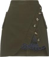Self-Portrait Olive Utility Mini Skirt