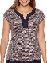 Liz Claiborne Short-Sleeve Split-Neck Top - Tall