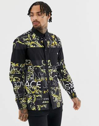 Versace slim shirt in black with all over logo print