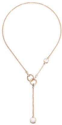 Pomellato Nudo 18K Rose & White Gold, Diamond, Topaz & Mother-Of-Pearl Lariat Necklace
