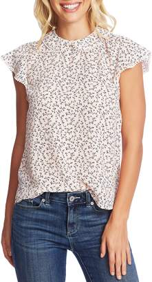 CeCe Budding Floral Flutter Sleeve Top