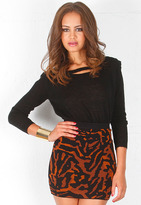 Torn By Ronny Kobo Abstract Animal Celine Skirt in Natural