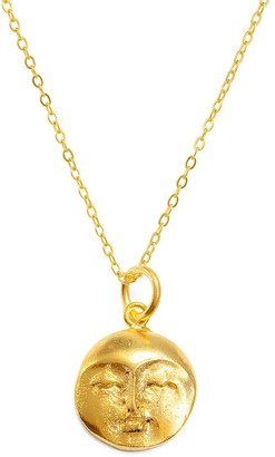 Ottoman Hands Gold Moon Face Pendant
