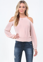 Bebe Cold Shoulder Surplice Top
