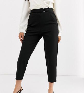 Asos DESIGN Petite smart slim trouser in ponte-Black