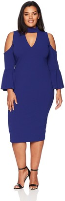 Rachel Roy Women's Plus Size Cold Shoulder Crepe MIDI