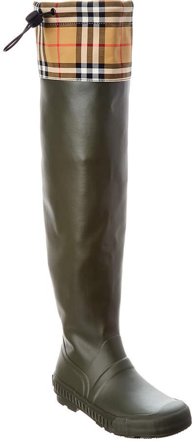 de1b52fbbad7c Vintage Check & Rubber Knee-High Rain Boot
