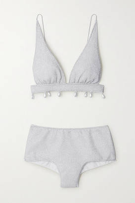 Oseree Lumiere Faux Pearl-embellished Stretch-lurex Triangle Bikini