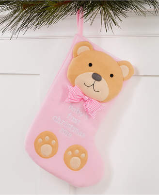 Holiday Lane Baby First Pink Teddy Bear Stocking Ornament