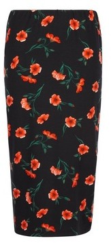 Dorothy Perkins Womens Black 'Poppy' Floral Print Pencil Skirt, Black