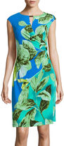 Ronni Nicole Cap-Sleeve Floral-Print Keyhole Sheath Dress