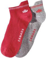 Joe Fresh Women's 2 Pack Canada Socks, Red (Size 9-11)