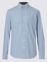 Marks and Spencer Pure Cotton Grid Checked Shirt