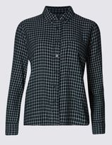 Marks and Spencer Pure Cotton Checked Long Sleeve Blouse