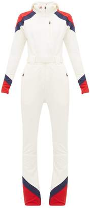 Perfect Moment Allos Chevron-panel Hooded All-in-one Ski Suit - Womens - White