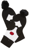 Alice + Olivia Stace Face Fur Pom Convertible Mittens