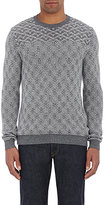Zanone MEN'S GEOMETRIC-PATTERN SWEATER-GREY SIZE XL