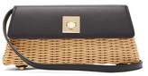 Sparrows Weave - The Clutch Wicker And Leather Cross-body Bag - Womens - Black Multi