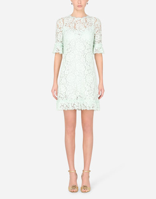 Dolce & Gabbana Short Lace Dress With Ruching